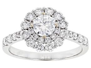 White Lab-Grown Diamond 14k White Gold Halo Ring 1.40ctw