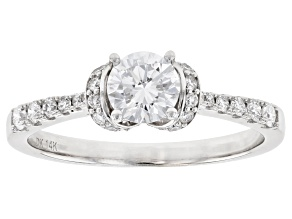 White Lab-Grown Diamond 14k White Gold Engagement Ring 0.75ctw