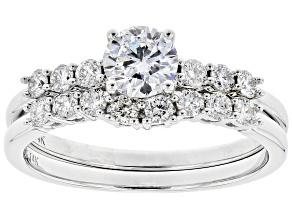 White Lab-Grown Diamond 14k White Gold Engagement Ring and Wedding Band Set 0.96ctw