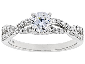 White Lab-Grown Diamond 14k White Gold Engagement Ring 0.80ctw