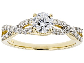 White Lab-Grown Diamond 14k Yellow Gold Engagement Ring 0.80ctw