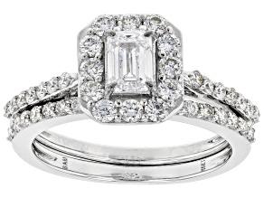 White Lab-Grown Diamond 14k White Gold Engagement Ring and Wedding Band Set 1.35ctw