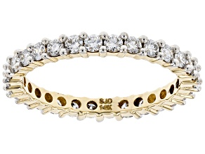 White Lab-Grown Diamond 14k Yellow Gold Eternity Band Ring 0.90ctw