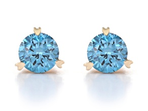 Blue Lab-Grown Diamond 14k Yellow Gold Stud Earrings 1.00ctw
