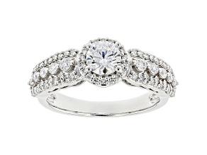 White Lab-Grown Diamond 14k White Gold Halo Engagement Ring 1.00ctw