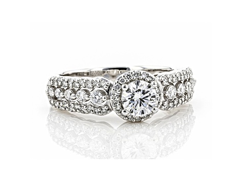 White Lab-Grown Diamond 14k White Gold Halo Engagement Ring 1.00ctw