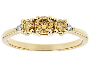 Champagne And White Lab-Grown Diamond 14k Yellow Gold 3-Stone Ring 0.45ctw