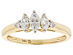 White Lab-Grown Diamond 14k Yellow Gold 3-Stone Engagement Ring 0.50ctw