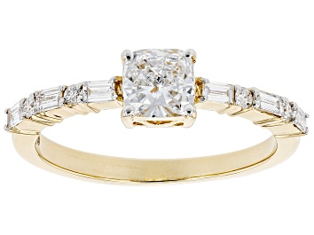 Picture of White Lab-Grown Diamond 14k Yellow Gold Engagement Ring 0.85ctw