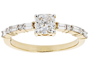 White Lab-Grown Diamond 14k Yellow Gold Engagement Ring 0.85ctw