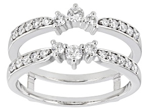 White Lab-Grown Diamond 14k White Gold Ring Guard 0.50ctw