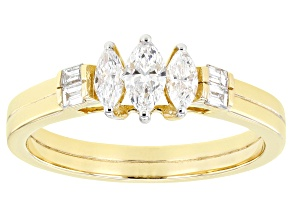 White Lab-Grown Diamond 14k Yellow Gold 3-Stone Band Ring 0.50ctw