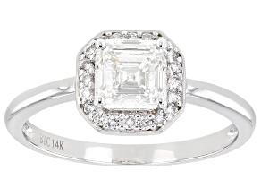 White Lab-Grown Diamond 14k White Gold Halo Engagement Ring 1.14ctw
