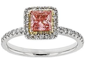 Pink and White Lab-Grown Diamond 14k White Gold Ring 1.07ctw