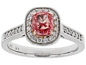 Pink and White Lab-Grown Diamond 14k White Gold Ring 1.32ctw