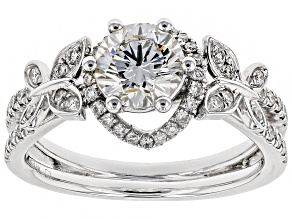 White Lab-Grown Diamond 14K White Gold Ring 1.35ctw