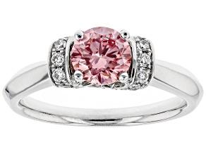Pink and White Lab-Grown Diamond 14K White Gold Ring 1.09ctw