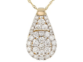 White Lab-Grown Diamond 14K Yellow Gold Pendant With Chain 1.50ctw