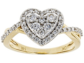 White Lab-Grown Diamond 14K Yellow Gold Heart Ring .59ctw