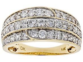 White Lab-Grown Diamond 14K Yellow Gold Ring 1.08ctw