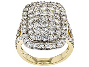 White Lab-Grown Diamond 14K Yellow Gold Ring 3.16ctw