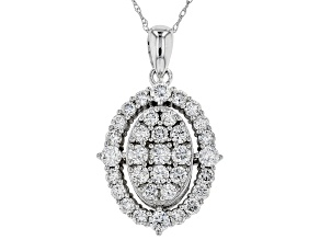 White Lab-Grown Diamond 14K White Gold Pendant 1.35ctw