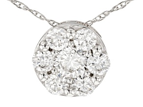 White Lab-Grown Diamond 14K White Gold Pendant .54ctw