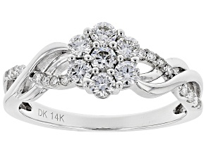 White Lab-Grown Diamond 14K White Gold Ring 0.56ctw