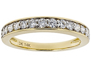 White Lab-Grown Diamond 14K Yellow Gold Ring .54ctw