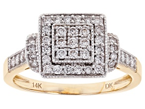 White Lab-Grown Diamond 14K Yellow Gold Ring .49ctw