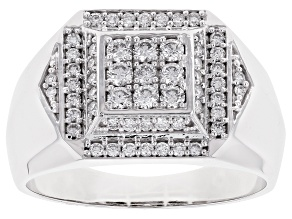 White Lab-Grown Diamond 14K White Gold Mens Cluster Ring .66ctw