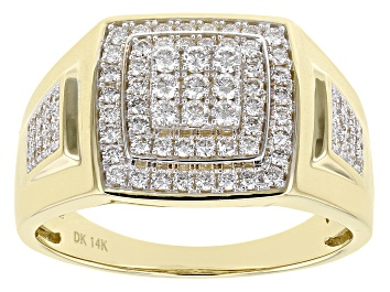 Picture of White Lab-Grown Diamond 14K Yellow Gold Mens Cluster Ring .80ctw