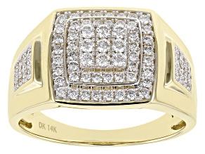 White Lab-Grown Diamond 14K Yellow Gold Mens Cluster Ring .80ctw