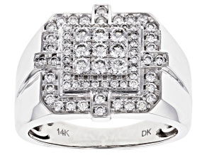 White Lab-Grown Diamond 14K White Gold Gents Ring .78ctw
