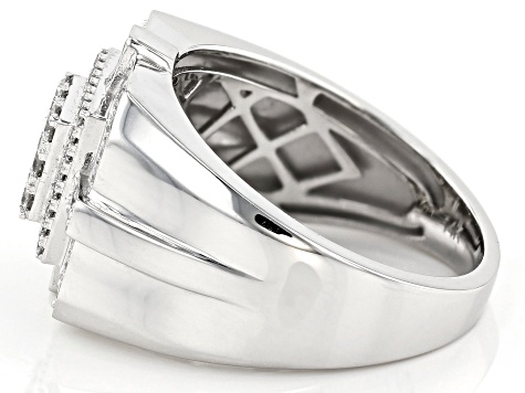 White Lab-Grown Diamond 14K White Gold Mens Statement Ring .78ctw