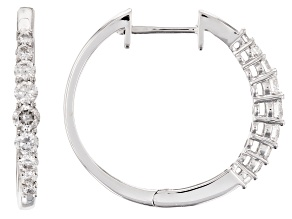 White Lab-Grown Diamond 14K White Gold Hoop Earrings .61ctw