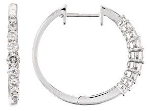 White Lab-Grown Diamond 14K White Gold Hoop Earrings .61ctw