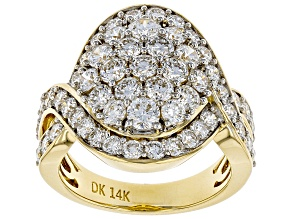 White Lab-Grown Diamond 14K Yellow Gold Ring 3.44ctw