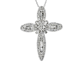White Lab-Grown Diamond 14K White Gold Pendant 0.93ctw