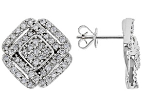 White Lab-Grown Diamond 14K White Gold Earrings 1.06ctw