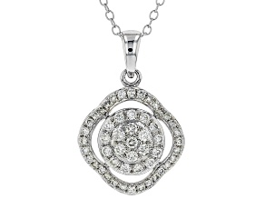 White Lab-Grown Diamond 14K White Gold Pendant 0.50ctw
