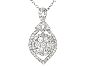 White Lab-Grown Diamond 14K White Gold Pendant With Chain .75ctw
