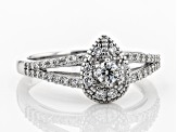 White Lab-Grown Diamond 14K White Gold Cluster Ring 0.48ctw