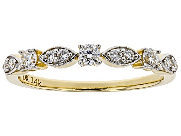Picture of White Lab-Grown Diamond 14K Yellow Gold Band Ring 0.30ctw