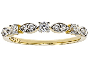 White Lab-Grown Diamond 14K Yellow Gold Band Ring 0.30ctw