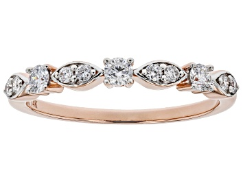 Picture of White Lab-Grown Diamond 14K Rose Gold Band Ring 0.30ctw