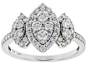 White Lab-Grown Diamond 14K White Gold Ring 0.90ctw