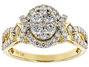 White Lab-Grown Diamond 14K Yellow Gold Ring 0.95ctw