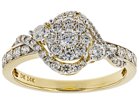White Lab-Grown Diamond 14K Yellow Gold Ring 0.75ctw