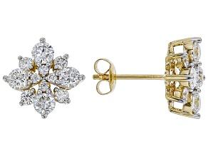 White Lab-Grown Diamond 14K Yellow Gold Earrings 1.24ctw